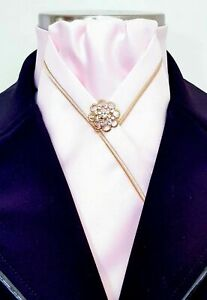 ERA Kate   Pale Pink Stock Tie with  Gold Piping Trim & Brooch