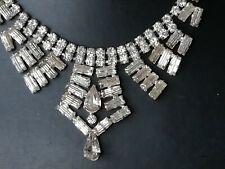 Vintage jewellery diamante baguette cut art deco necklace