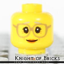 LEGO Minifigure Head YELLOW Female Girl Glasses Dark Tan Gray Eyebrows