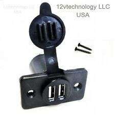 Sea Watertight Dual USB Charger Socket Outlet Blue Plug  2 USB Ports w/ Cap Lid