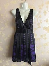 TED BAKER Plunge Neck Silk Short Dress Black/Purple/Grey Size :3/10-12UK BNWT