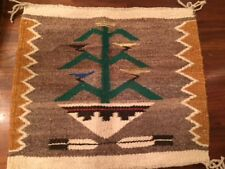 Small Vtg 1981 Navaho Rug / Wall Hanging by Esther Hot Tree of Life Taos Nm