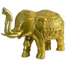 Figura elefante realeza latón dorado 21 cm amuleto suerte artesanía India