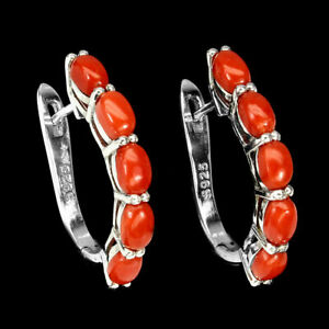 Natural Italy CORAL 5x3mm & CZ 925 Silver EARRINGS Oval Reddish Orange Italy