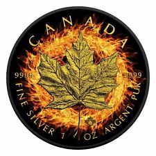 2016 1oz Burning Maple Leaf Silver Ruthenium Coin