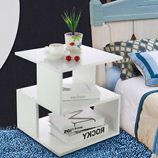 White Coffee Tea Table Square Side Desk Bedroom Nightstand with Storage Shelf