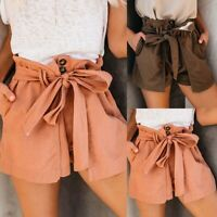 Womens Summer High Waist Tie Belted Casual Beach Hot Pants Paper Bag Shorts New