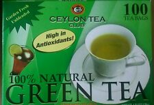 100 Teabags Ceylon Tea Club Pure Green Tea  Bags 100 Staple-Free Bags per Box