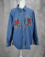 Bobbie Brooks Womens Floral Embroidered Button Up Denim Shirt Blue Size Large
