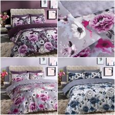 Inky Floral Luxurious Duvet Covers Quilt Cover Reversible Bedding Sets All Sizes