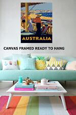 Vintage Art Deco Print Australia Bondi BeachTravel Framed painting Canvas