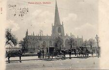 Parish Church SHEFFIELD Carriages Horses Original Postcard (136ED)