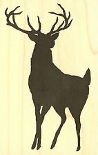 Deer Buck Silhouette Wood Mounted Rubber Stamp Impression Obsession D13467 New