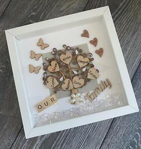 Personalized Family Tree Box Frame with Names Anniversary, Birthday,Thank you