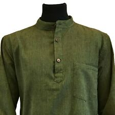 Hippy Casual Unisex GRANDAD SHIRT in plain GREEN - Fair Trade, UK seller