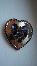 Crystal Rhinestone Heart Brooch Pin Rare New ListingVintage Weiss Gold tone Sapphire Blue