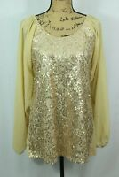 Badgley Mischka American Glamour Size Large Sequin Mini Dress Open Sleeve