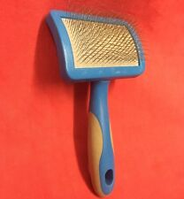 """Slicker Brush Blue Plastic Handle Grooming 3"""" Wide Small Animal Hair Remover"""
