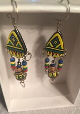 Artisan Hand-Crafted Southwest Earrings-Painted In Peru-Fair Trade Jewelry P119