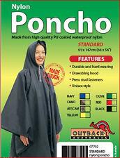 OUTBACK Waterproof Poncho Heavy Duty Nylon BLACK