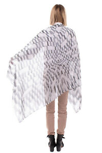 RRP €200 EMPORIO ARMANI Shawl Wrap Scarf Silk & Linen Blend Frayed Made in Italy