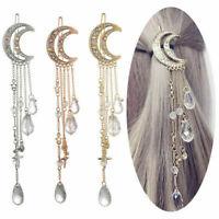 Moon Hair Clips Crystal Tassels Hairpin Barrette Women Wedding Hair Accessories