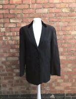 Nicole Farhi Vintage Black Grey Pinstripe Relaxed Fit Blazer 92% Wool Size 8 B19