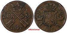 Sweden Fredrik I Copper 1747 2 Ore, S.M.Silvermynt Mintage-461,000 KM# 437