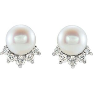 Pearl Diamond Earrings 14K White Yellow Rose Gold And Platinum