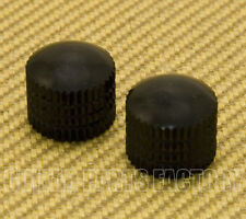 PK-008-BK (2) Black Knurled Push-On Dome Knobs 6mm Split Shaft Pots Guitar/Bass