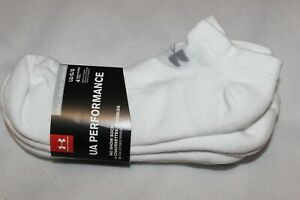 Under Armour Men's Performance Cotton White No-Show Sport Socks 4-Pack NWT