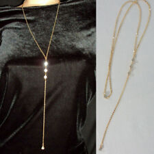Rhinestone Lariat Necklace Gold LONG DROP Chain Lariat Simple Dainty Bling
