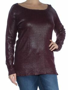 RALPH LAUREN $90 Womens New 1797 Maroon Long Sleeve Scoop Neck Top L B+B