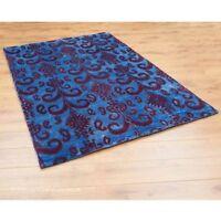 100% Bamboo Silk Ikat Sapphire Blue Rug 120x180cm Indian Hand Tufted