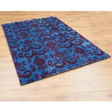 100% Bamboo Silk Ikat Sapphire Blue Rug 120x180cm Indian Hand Tufted