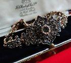 Vintage Style Marcasite Crystal Cocktail Bracelet Antique Gold Tone Jewellery