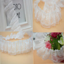 White Pleated Organza Lace Edge Trim Gathered Mesh Ribbon Wedding Sewing DIY