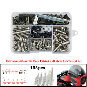 155xStainless Universal Motorcycle Bike Shell Fairing Bolt Plate Screws Nut Kit