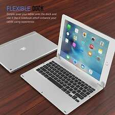 "130° Apple iPad Pro 12.9"" Tablet Case Bluetooth Keyboard Protective Cover Silve"