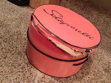 "Vintage Schiaparelli Round Hat Box Pink with Black Trim 12"" Diameter-5 1/2"" High"