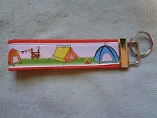"Vintage Retro Camping Tents Design Orange 5"" Key Fob Wristlet Camp Glamp"
