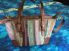 FOSSIL Tapestry with Leather Trim Shoulder Bag Cross Body Purse with Key