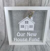 Our NEW HOUSE SAVING FUND MONEY BOX Frame SilverGlitter FAMILY Present Gift Love