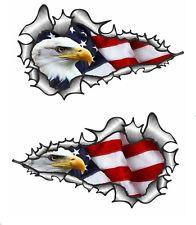 LRG LONG Handed Pair Ripped Torn Metal Rip American Eagle & US Flag car sticker