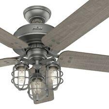 Hunter Fan 52 Polegadas Casual Ventilador De Teto Prata Fosco com Kit de luz e cadeia de puxar