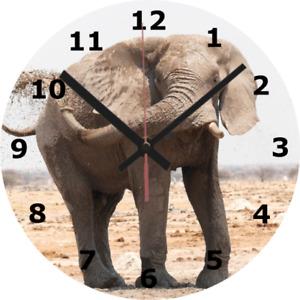 WALL CLOCK ELEPHANT 25cm Clock Wildlife Animal Nature Calm Home Decor diy 1063