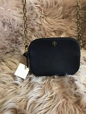 Authentic Tory Burch Robinson Saffiano Leather Camera Bag Black $298