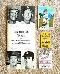 1970 LA Dodgers Lot: Media Guide, Don Sutton Topps Baseball Card, 2 Ticket Stubs