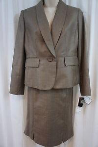 """Kasper Petite Suit Sz 6P Camel """" Gold Standard"""" Long Sleeve Business Skirt Suit"""