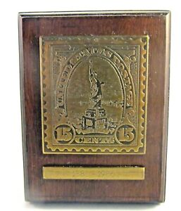 Liberty 1886 - 1986 Wood/Brass Stamp Plaque - Avon Fine Collectibles